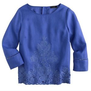 J. Crew Embroidered Linen 3/4 Sleeve Top